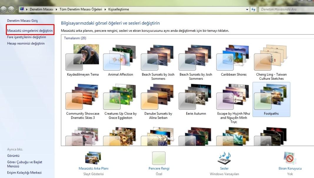 Masaüstü Simge Ayarları - Windows 7